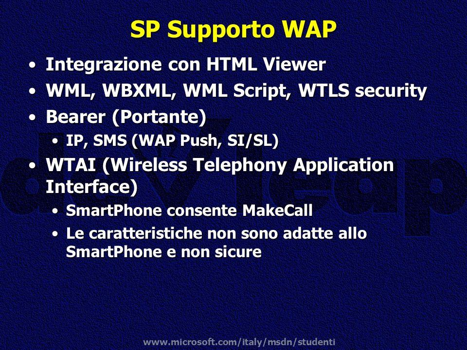 www.microsoft.com/italy/msdn/studenti SP Supporto WAP Integrazione con HTML ViewerIntegrazione con HTML Viewer WML, WBXML, WML Script, WTLS securityWM