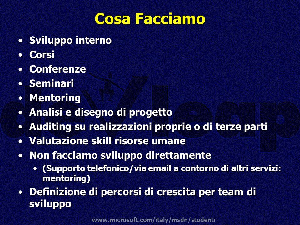 www.microsoft.com/italy/msdn/studenti Cosa Facciamo Sviluppo internoSviluppo interno CorsiCorsi ConferenzeConferenze SeminariSeminari MentoringMentori