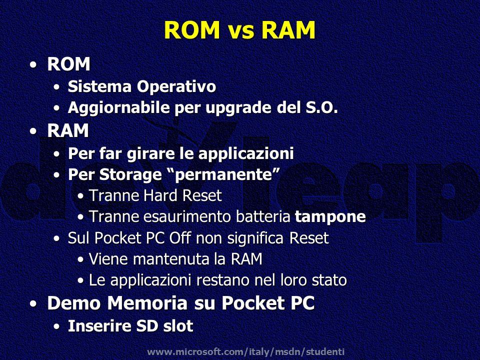 www.microsoft.com/italy/msdn/studenti ROM vs RAM ROMROM Sistema OperativoSistema Operativo Aggiornabile per upgrade del S.O.Aggiornabile per upgrade d