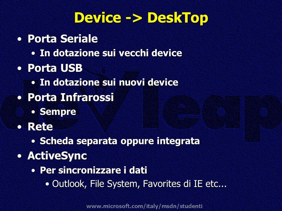 www.microsoft.com/italy/msdn/studenti Device -> DeskTop Porta SerialePorta Seriale In dotazione sui vecchi deviceIn dotazione sui vecchi device Porta