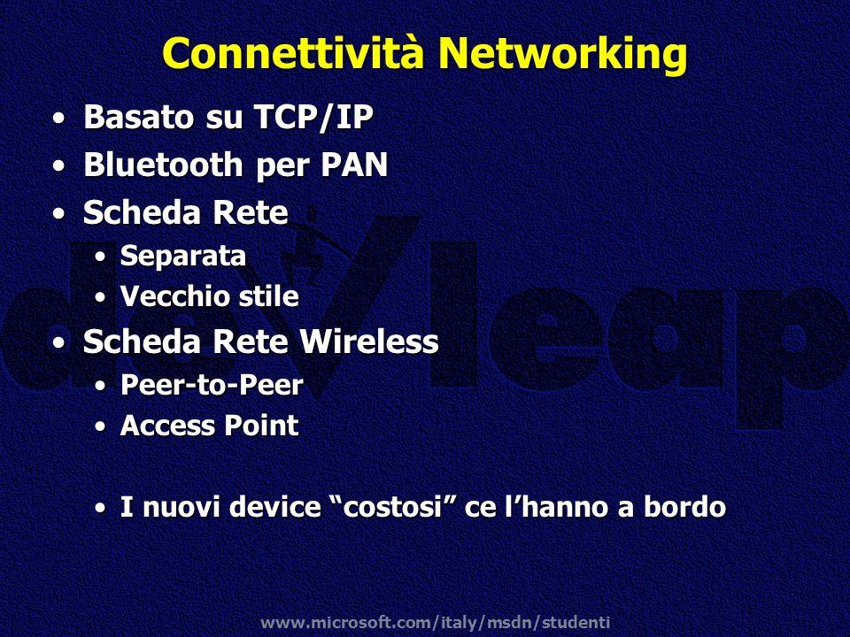 www.microsoft.com/italy/msdn/studenti Connettività Networking Basato su TCP/IPBasato su TCP/IP Bluetooth per PANBluetooth per PAN Scheda ReteScheda Re