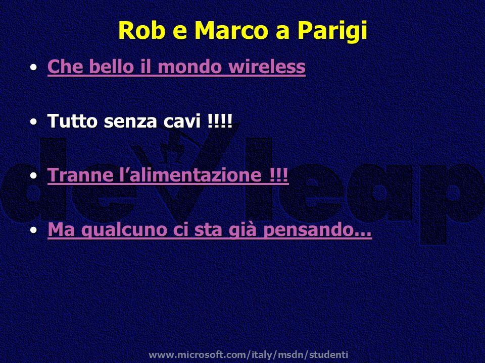 www.microsoft.com/italy/msdn/studenti Rob e Marco a Parigi Che bello il mondo wirelessChe bello il mondo wirelessChe bello il mondo wirelessChe bello