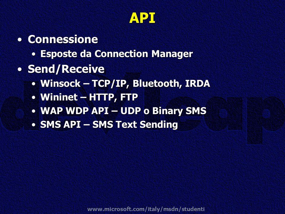 www.microsoft.com/italy/msdn/studenti API ConnessioneConnessione Esposte da Connection ManagerEsposte da Connection Manager Send/ReceiveSend/Receive W