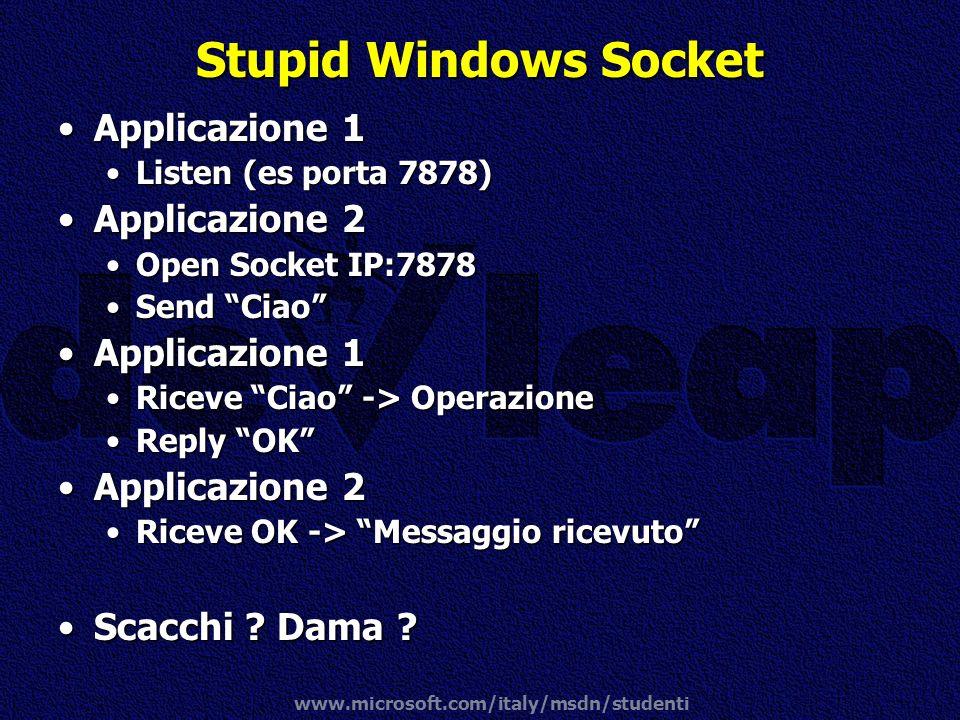 www.microsoft.com/italy/msdn/studenti Stupid Windows Socket Applicazione 1Applicazione 1 Listen (es porta 7878)Listen (es porta 7878) Applicazione 2Ap