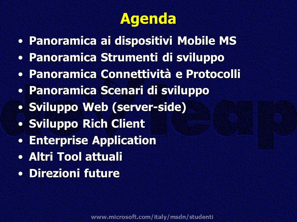 www.microsoft.com/italy/msdn/studenti Agenda Panoramica ai dispositivi Mobile MSPanoramica ai dispositivi Mobile MS Panoramica Strumenti di sviluppoPa