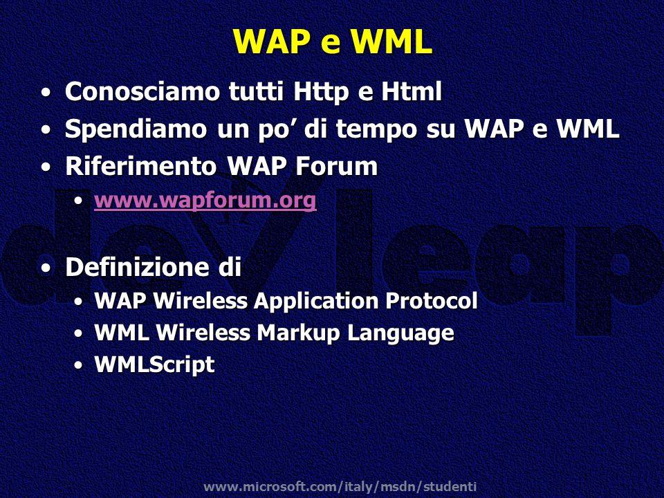 www.microsoft.com/italy/msdn/studenti WAP e WML Conosciamo tutti Http e HtmlConosciamo tutti Http e Html Spendiamo un po di tempo su WAP e WMLSpendiam