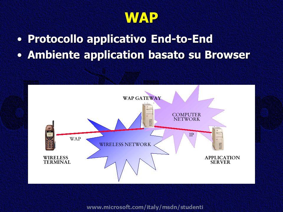 www.microsoft.com/italy/msdn/studenti WAP Protocollo applicativo End-to-EndProtocollo applicativo End-to-End Ambiente application basato su BrowserAmb