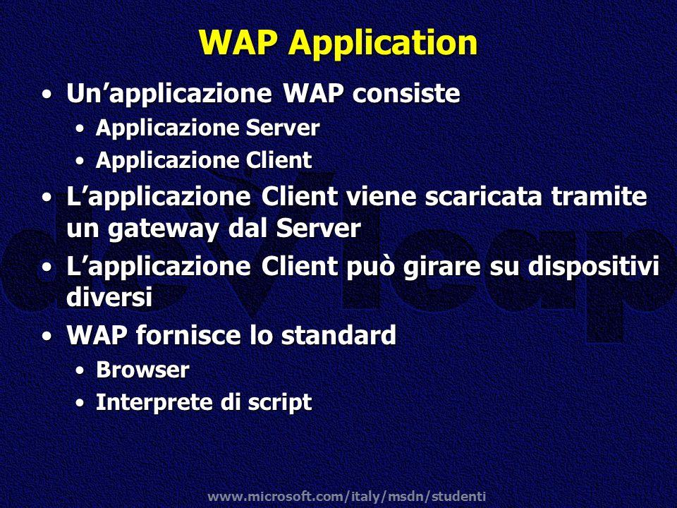 www.microsoft.com/italy/msdn/studenti WAP Application Unapplicazione WAP consisteUnapplicazione WAP consiste Applicazione ServerApplicazione Server Ap