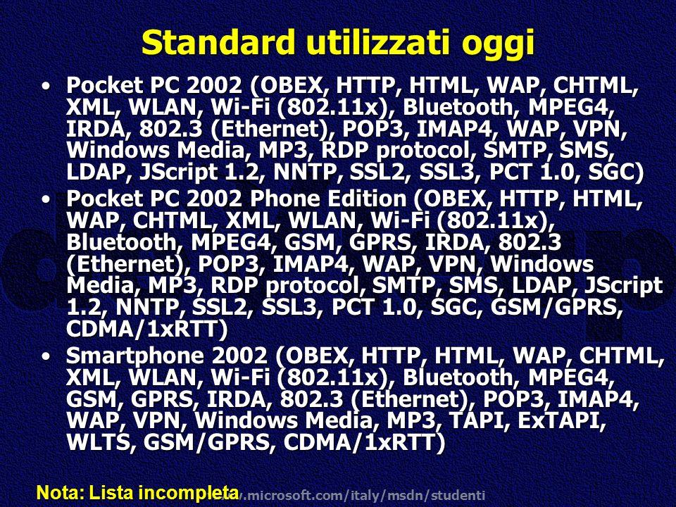 www.microsoft.com/italy/msdn/studenti Standard utilizzati oggi Pocket PC 2002 (OBEX, HTTP, HTML, WAP, CHTML, XML, WLAN, Wi-Fi (802.11x), Bluetooth, MP
