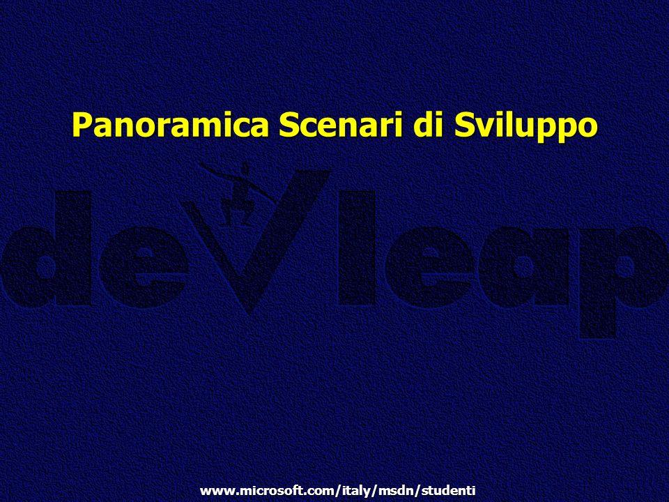 www.microsoft.com/italy/msdn/studenti Panoramica Scenari di Sviluppo