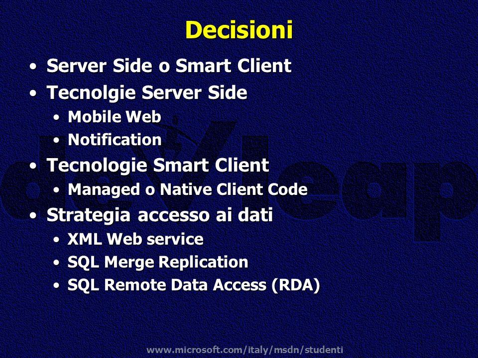 www.microsoft.com/italy/msdn/studenti Decisioni Server Side o Smart ClientServer Side o Smart Client Tecnolgie Server SideTecnolgie Server Side Mobile