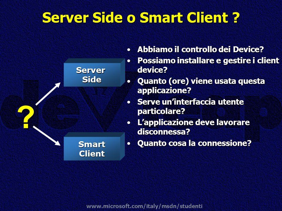 www.microsoft.com/italy/msdn/studenti ServerSide Smart Client ? Abbiamo il controllo dei Device?Abbiamo il controllo dei Device? Possiamo installare e