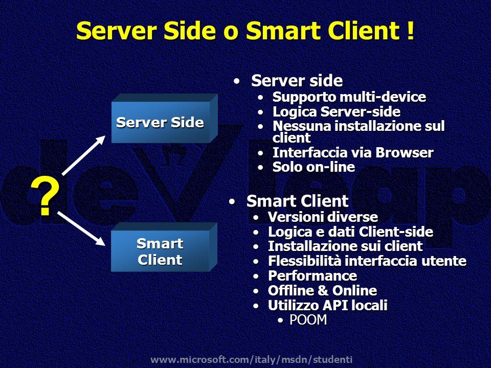 www.microsoft.com/italy/msdn/studenti Server Side o Smart Client ! Server sideServer side Supporto multi-deviceSupporto multi-device Logica Server-sid