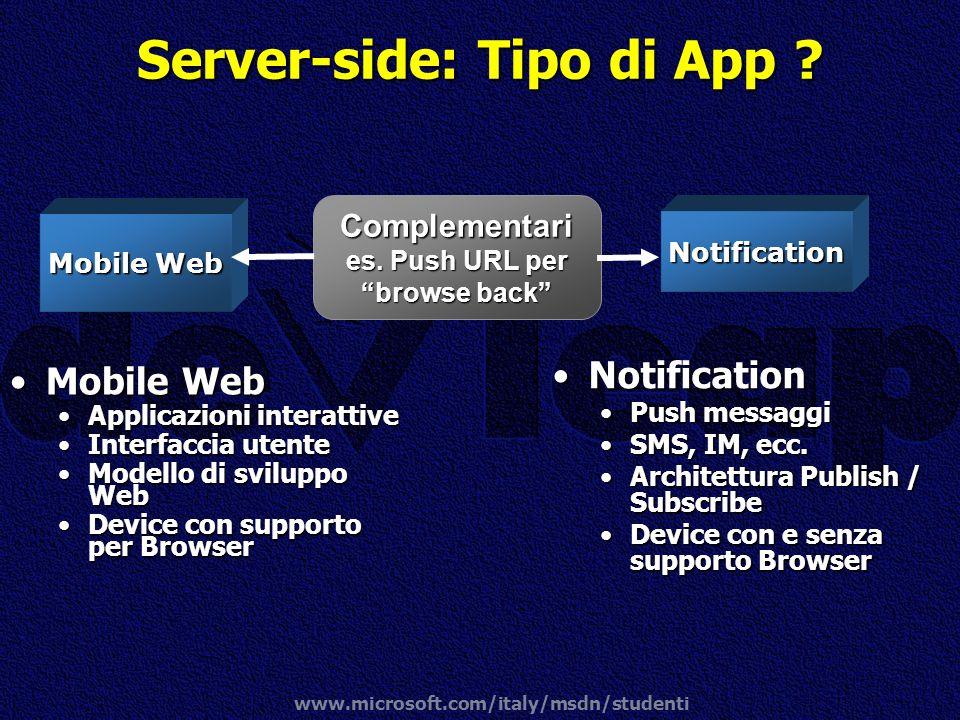 www.microsoft.com/italy/msdn/studenti Complementari es. Push URL per browse back Mobile WebMobile Web Applicazioni interattiveApplicazioni interattive