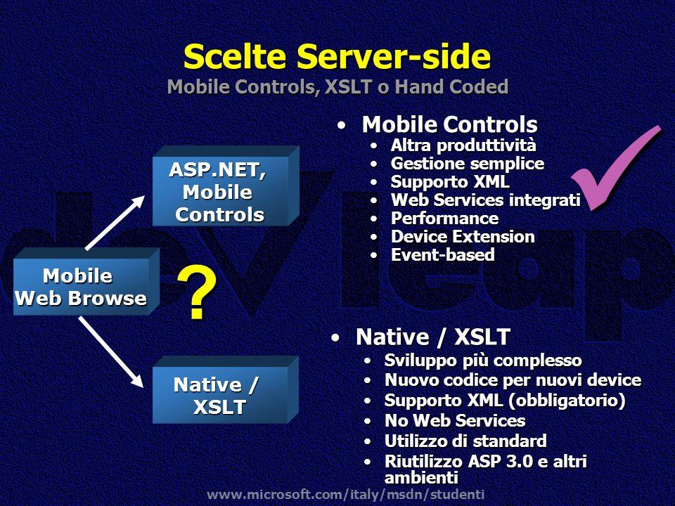 www.microsoft.com/italy/msdn/studenti Mobile ControlsMobile Controls Altra produttivitàAltra produttività Gestione sempliceGestione semplice Supporto