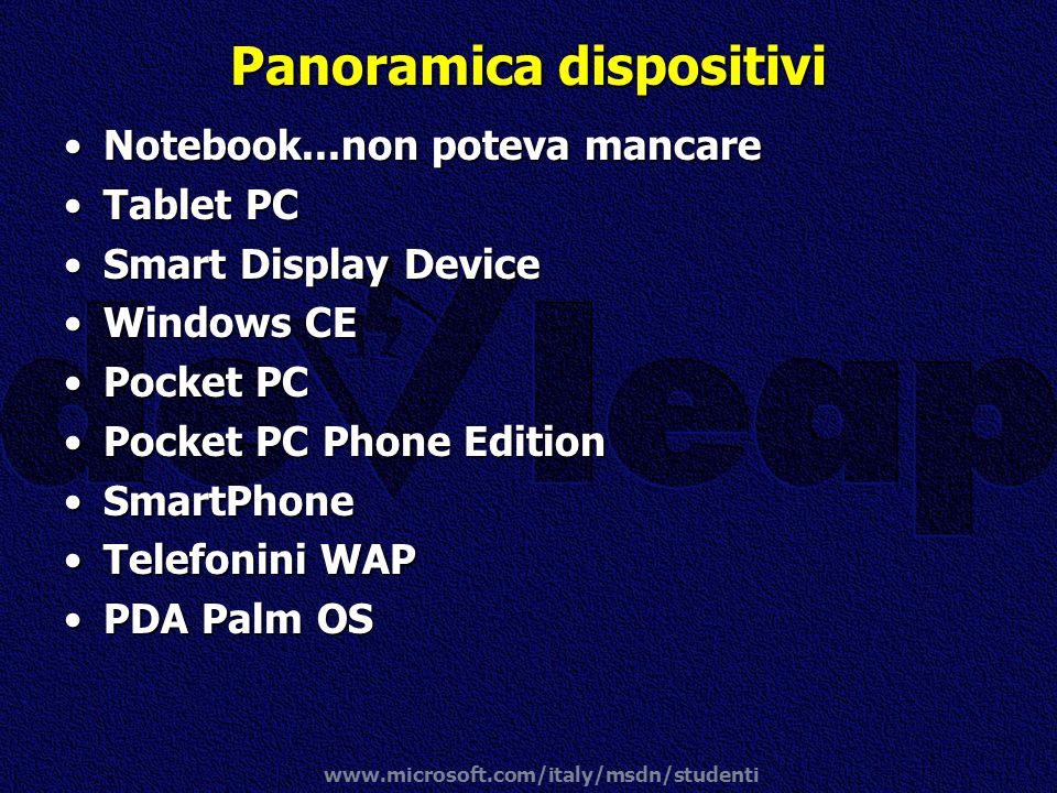 www.microsoft.com/italy/msdn/studenti Panoramica dispositivi Notebook...non poteva mancareNotebook...non poteva mancare Tablet PCTablet PC Smart Displ
