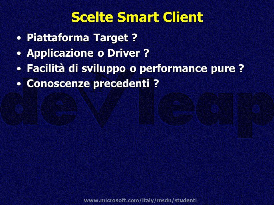 www.microsoft.com/italy/msdn/studenti Scelte Smart Client Piattaforma Target ?Piattaforma Target ? Applicazione o Driver ?Applicazione o Driver ? Faci