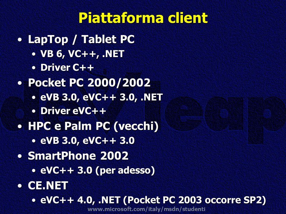www.microsoft.com/italy/msdn/studenti Piattaforma client LapTop / Tablet PCLapTop / Tablet PC VB 6, VC++,.NETVB 6, VC++,.NET Driver C++Driver C++ Pock