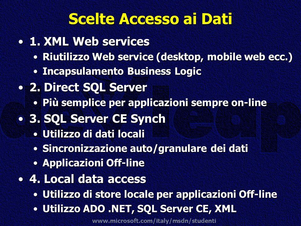 www.microsoft.com/italy/msdn/studenti Scelte Accesso ai Dati 1. XML Web services1. XML Web services Riutilizzo Web service (desktop, mobile web ecc.)R