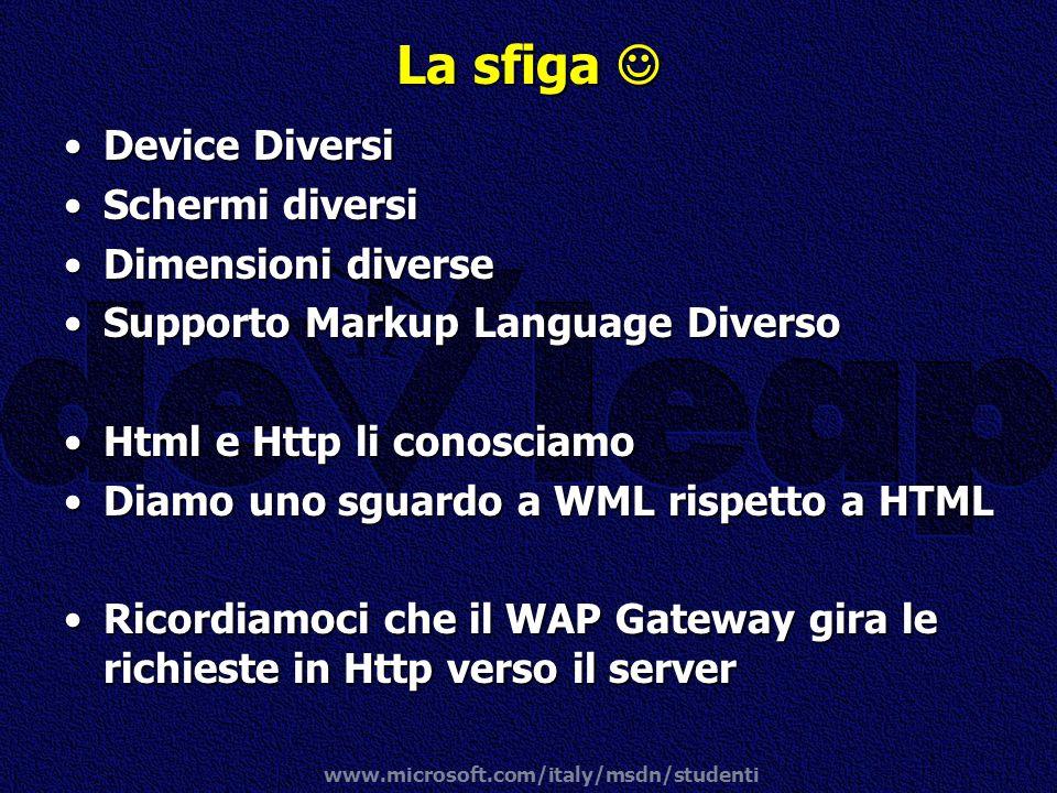 www.microsoft.com/italy/msdn/studenti La sfiga La sfiga Device DiversiDevice Diversi Schermi diversiSchermi diversi Dimensioni diverseDimensioni diver