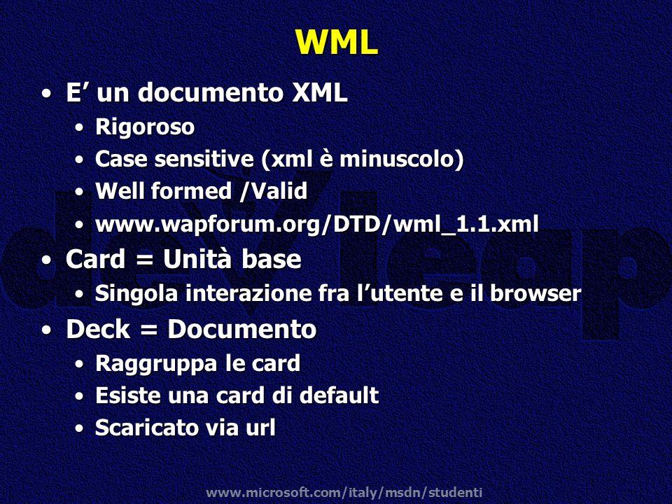www.microsoft.com/italy/msdn/studenti WML E un documento XMLE un documento XML RigorosoRigoroso Case sensitive (xml è minuscolo)Case sensitive (xml è