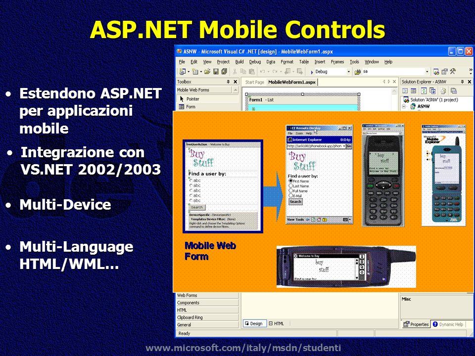 www.microsoft.com/italy/msdn/studenti ASP.NET Mobile Controls Integrazione con VS.NET 2002/2003Integrazione con VS.NET 2002/2003.NET Framework Service