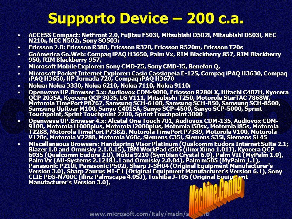 www.microsoft.com/italy/msdn/studenti Supporto Device – 200 c.a. ACCESS Compact: NetFront 2.0, Fujitsu F503i, Mitsubishi D502i, Mitsubishi D503i, NEC