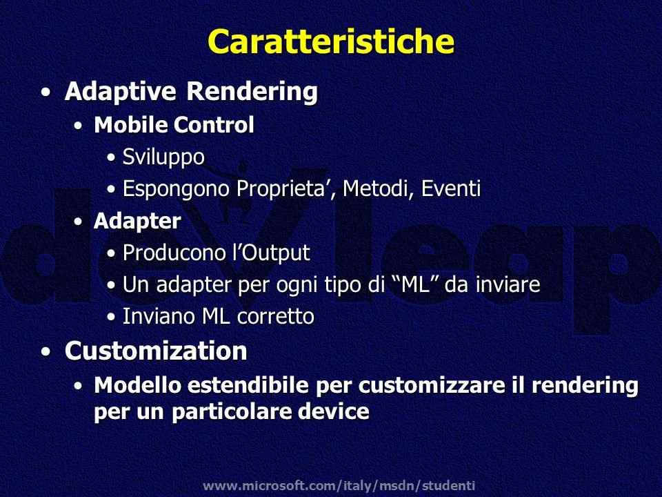 www.microsoft.com/italy/msdn/studenti Caratteristiche Adaptive RenderingAdaptive Rendering Mobile ControlMobile Control SviluppoSviluppo Espongono Pro
