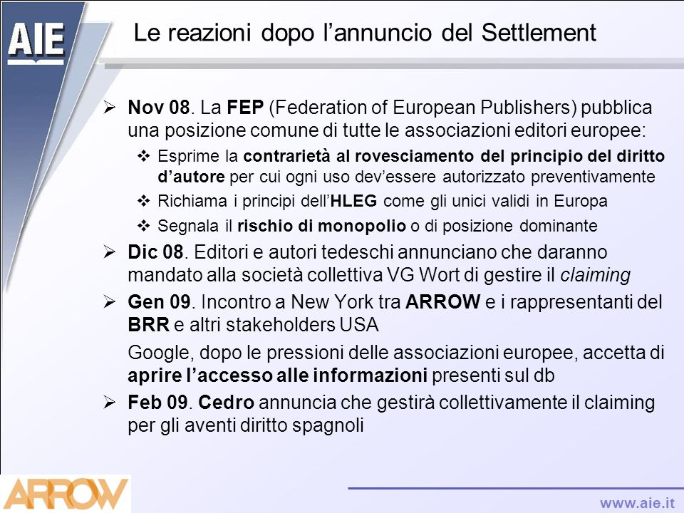 www.aie.it Le reazioni dopo lannuncio del Settlement Nov 08. La FEP (Federation of European Publishers) pubblica una posizione comune di tutte le asso