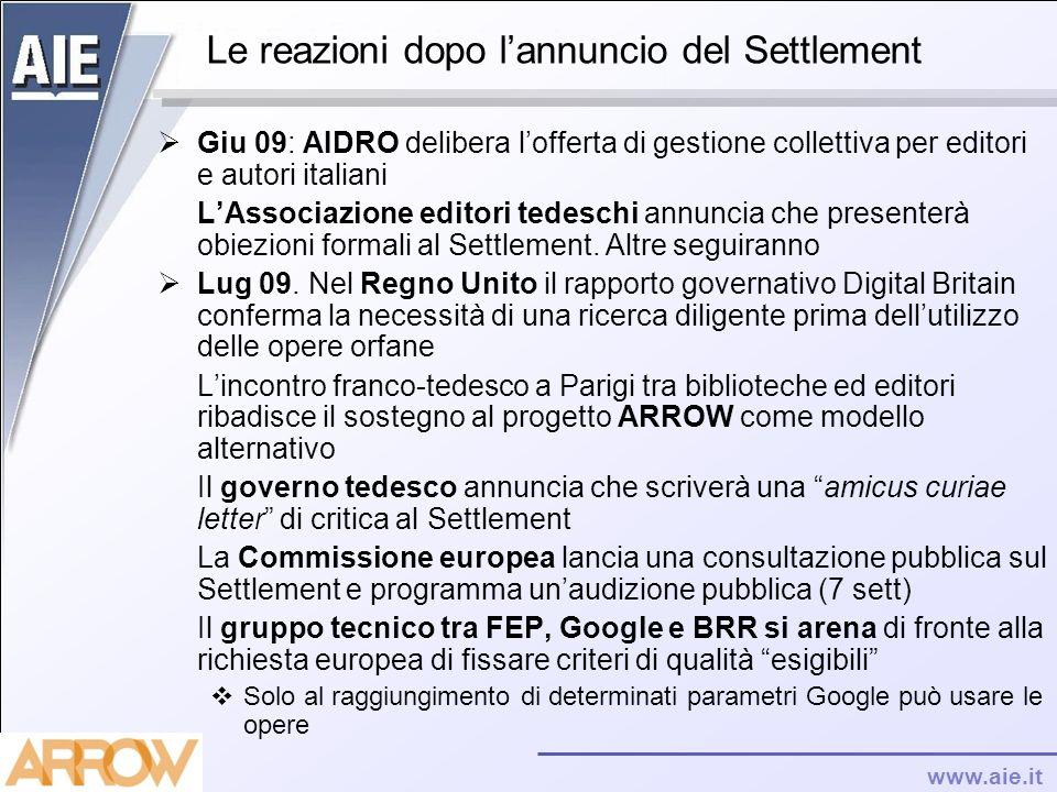 www.aie.it Le reazioni dopo lannuncio del Settlement Giu 09: AIDRO delibera lofferta di gestione collettiva per editori e autori italiani LAssociazion