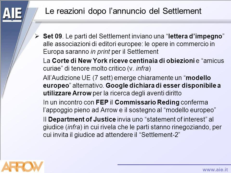www.aie.it Le reazioni dopo lannuncio del Settlement Set 09. Le parti del Settlement inviano una lettera dimpegno alle associazioni di editori europee