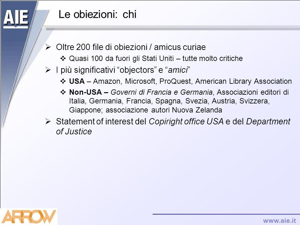 www.aie.it Le obiezioni: chi Oltre 200 file di obiezioni / amicus curiae Quasi 100 da fuori gli Stati Uniti – tutte molto critiche I più significativi
