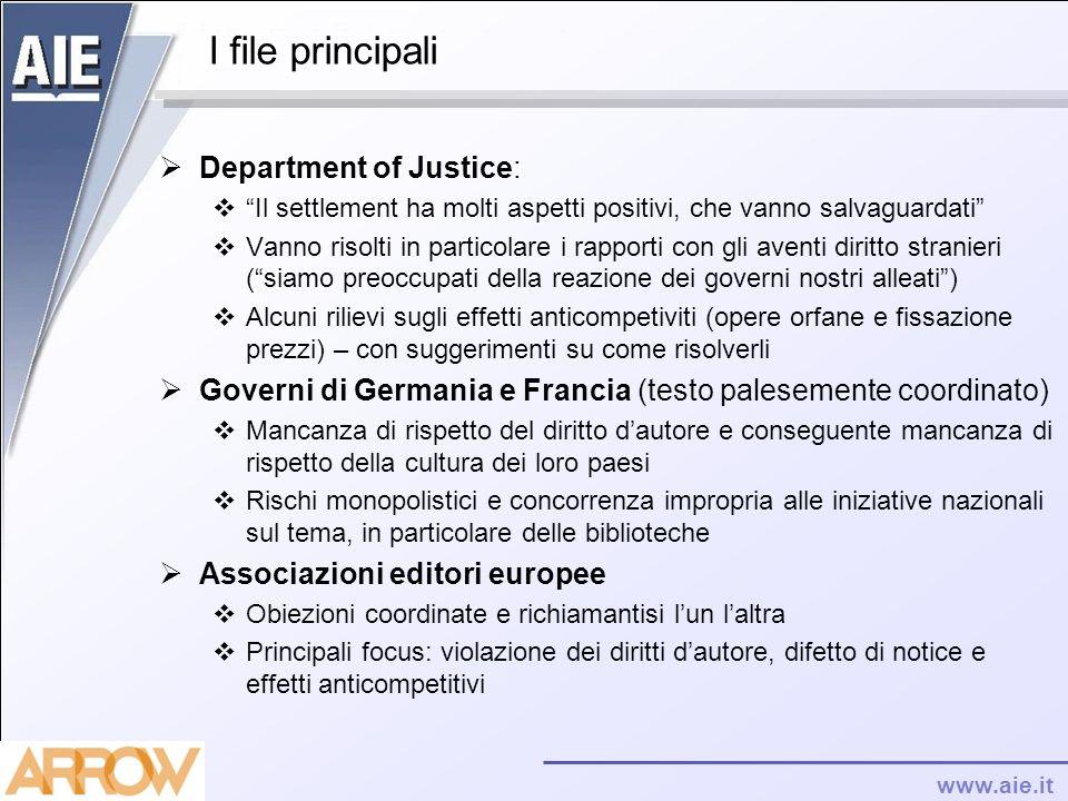 www.aie.it I file principali Department of Justice: Il settlement ha molti aspetti positivi, che vanno salvaguardati Vanno risolti in particolare i ra