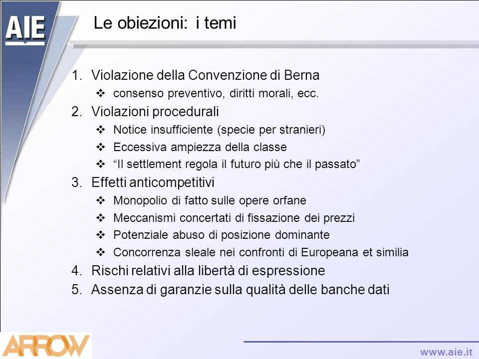 www.aie.it Le obiezioni: i temi 1.Violazione della Convenzione di Berna consenso preventivo, diritti morali, ecc. 2.Violazioni procedurali Notice insu