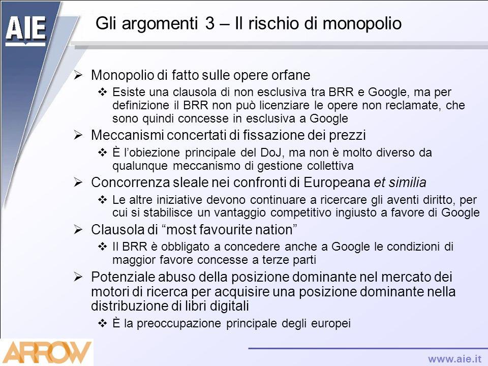 www.aie.it Gli argomenti 3 – Il rischio di monopolio Monopolio di fatto sulle opere orfane Esiste una clausola di non esclusiva tra BRR e Google, ma p