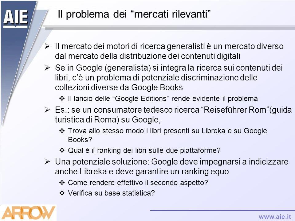 www.aie.it Il problema dei mercati rilevanti Il mercato dei motori di ricerca generalisti è un mercato diverso dal mercato della distribuzione dei con
