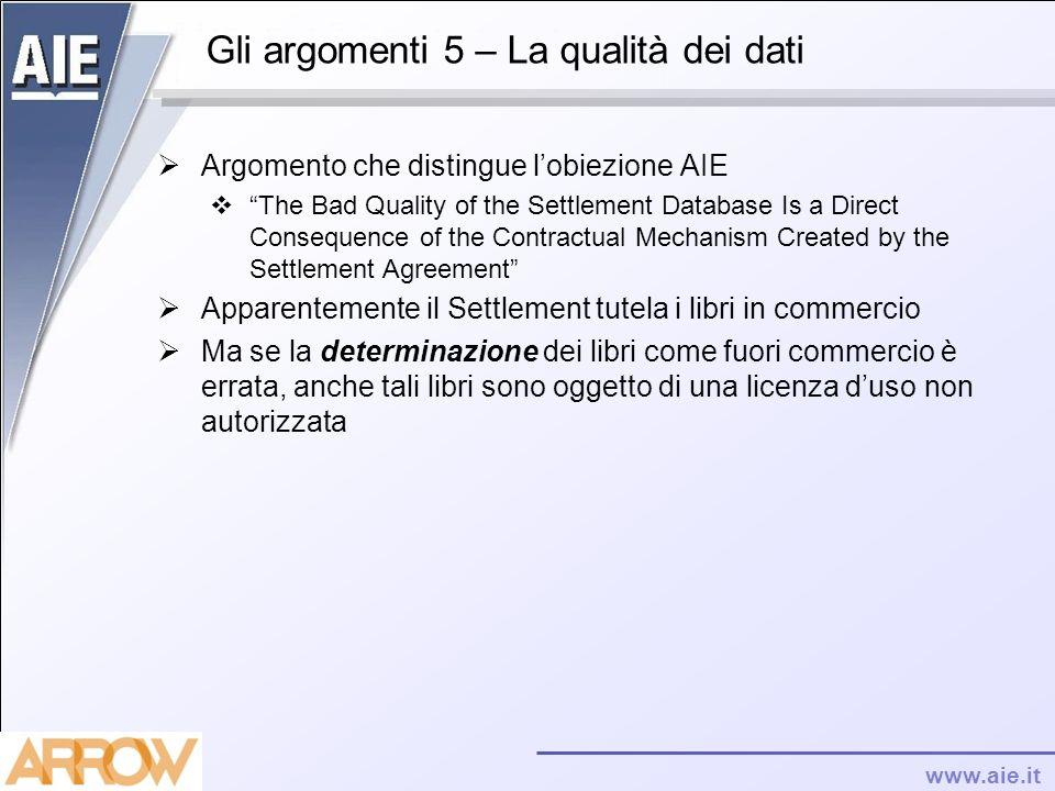 www.aie.it Gli argomenti 5 – La qualità dei dati Argomento che distingue lobiezione AIE The Bad Quality of the Settlement Database Is a Direct Consequ