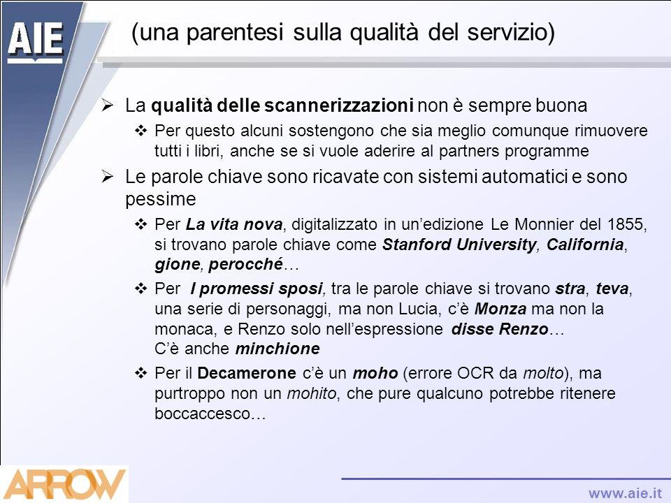 www.aie.it (una parentesi sulla qualità del servizio) La qualità delle scannerizzazioni non è sempre buona Per questo alcuni sostengono che sia meglio