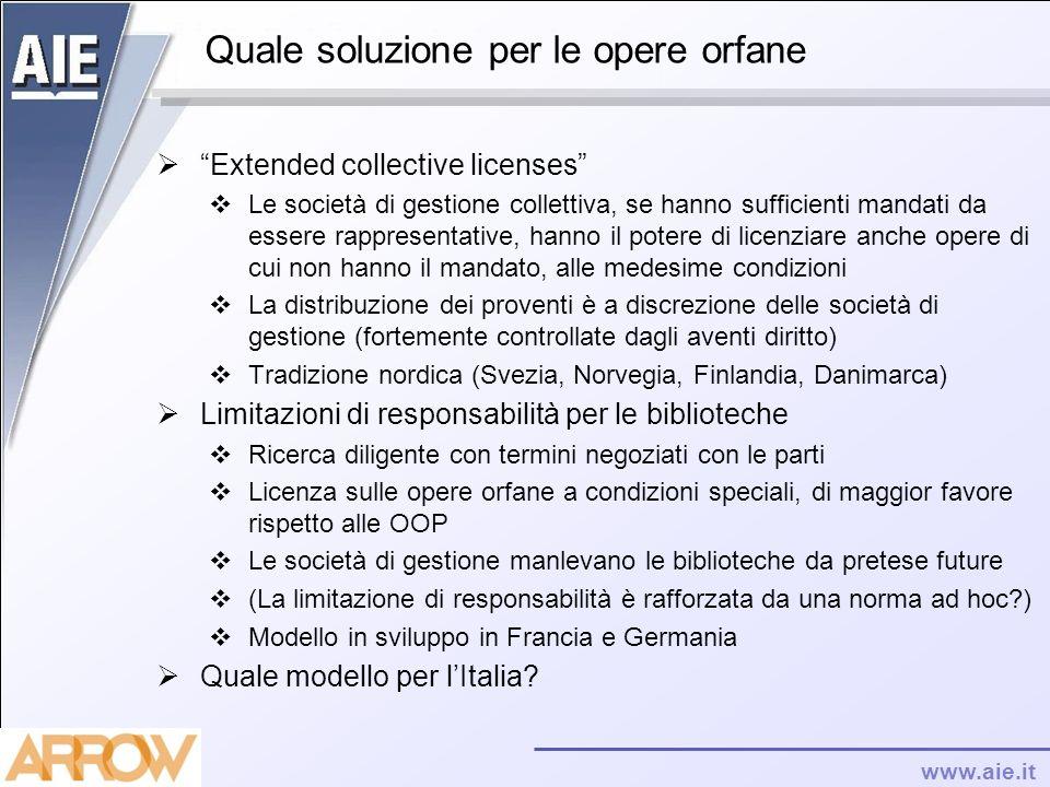 www.aie.it Quale soluzione per le opere orfane Extended collective licenses Le società di gestione collettiva, se hanno sufficienti mandati da essere