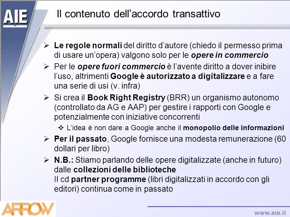 www.aie.it Il contenuto dellaccordo transattivo Le regole normali del diritto dautore (chiedo il permesso prima di usare unopera) valgono solo per le