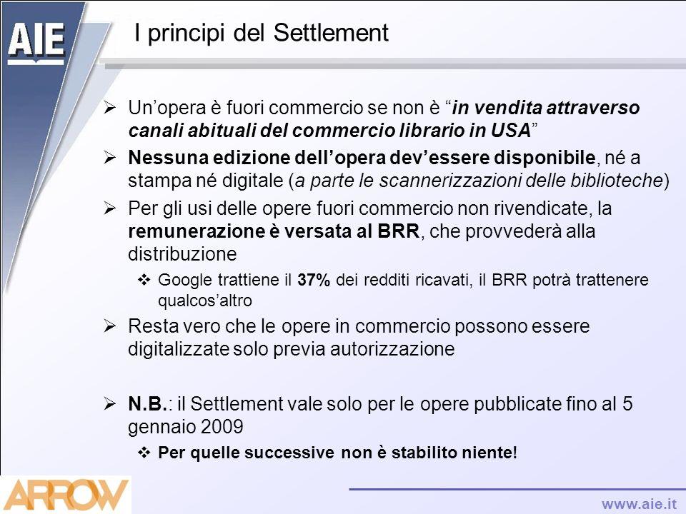 www.aie.it I principi del Settlement Unopera è fuori commercio se non è in vendita attraverso canali abituali del commercio librario in USA Nessuna ed
