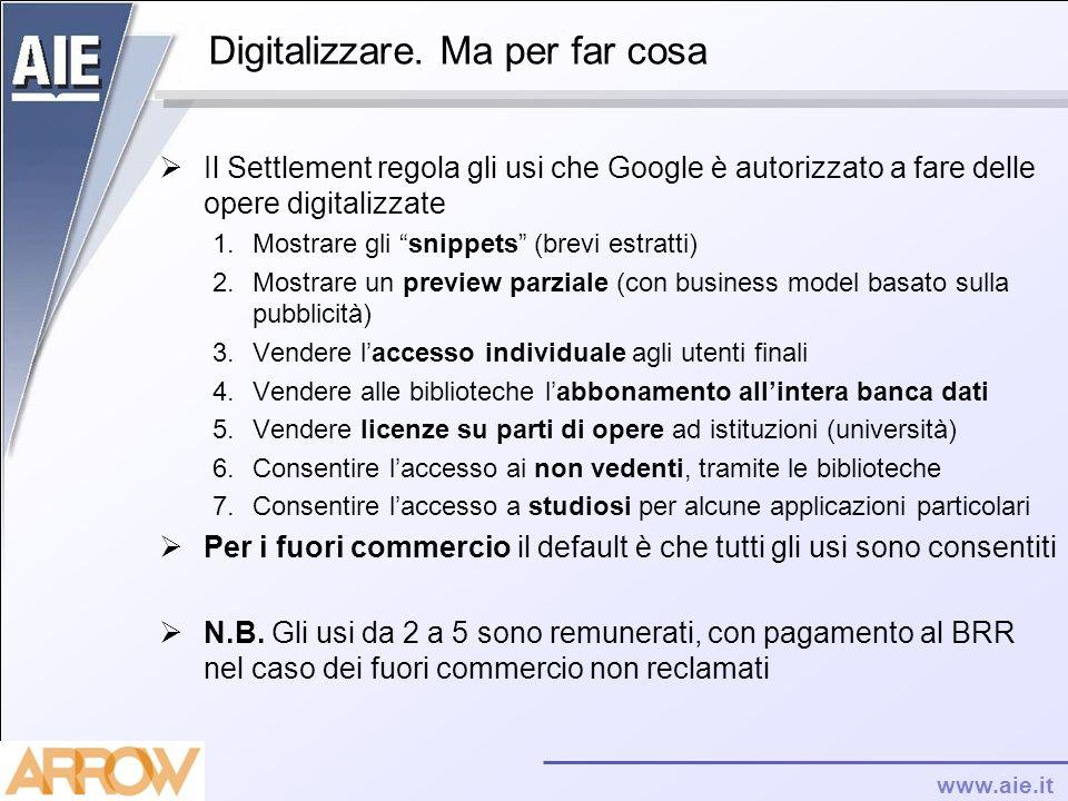 www.aie.it Digitalizzare. Ma per far cosa Il Settlement regola gli usi che Google è autorizzato a fare delle opere digitalizzate 1.Mostrare gli snippe