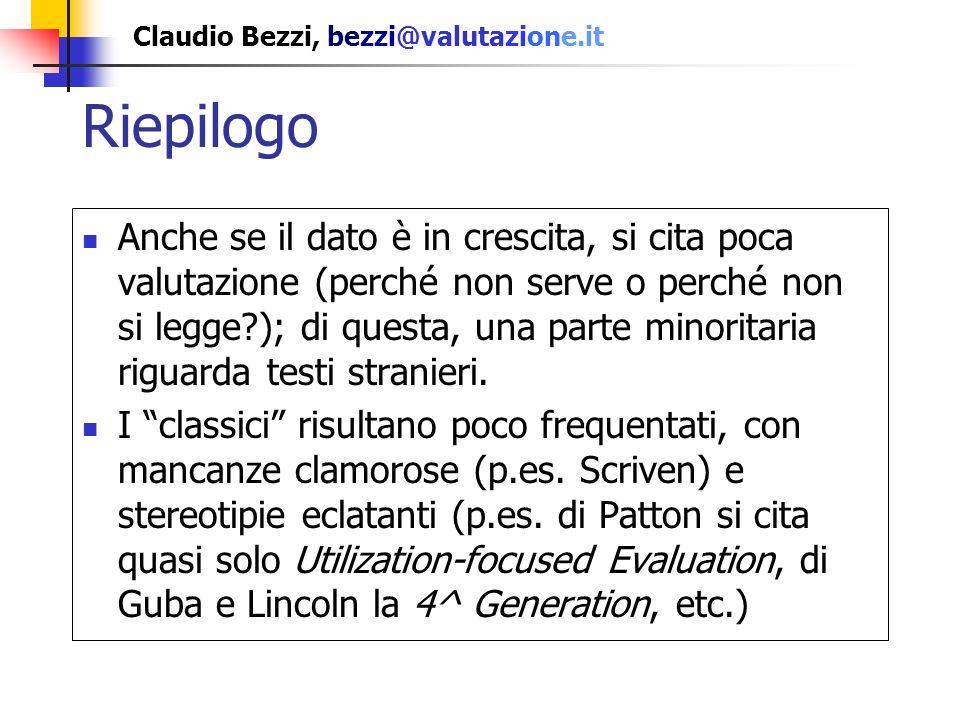 Claudio Bezzi, bezzi@valutazione.it Riepilogo Anche se il dato è in crescita, si cita poca valutazione (perché non serve o perché non si legge ); di questa, una parte minoritaria riguarda testi stranieri.