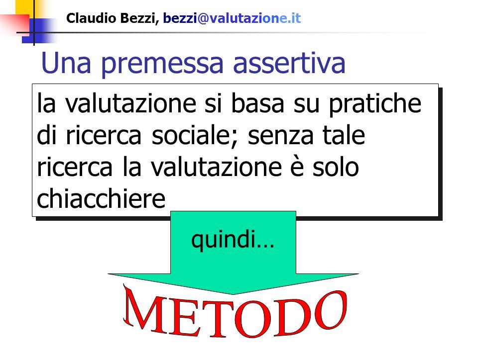 Claudio Bezzi, bezzi@valutazione.it Una premessa assertiva la valutazione si basa su pratiche di ricerca sociale; senza tale ricerca la valutazione è solo chiacchiere quindi…