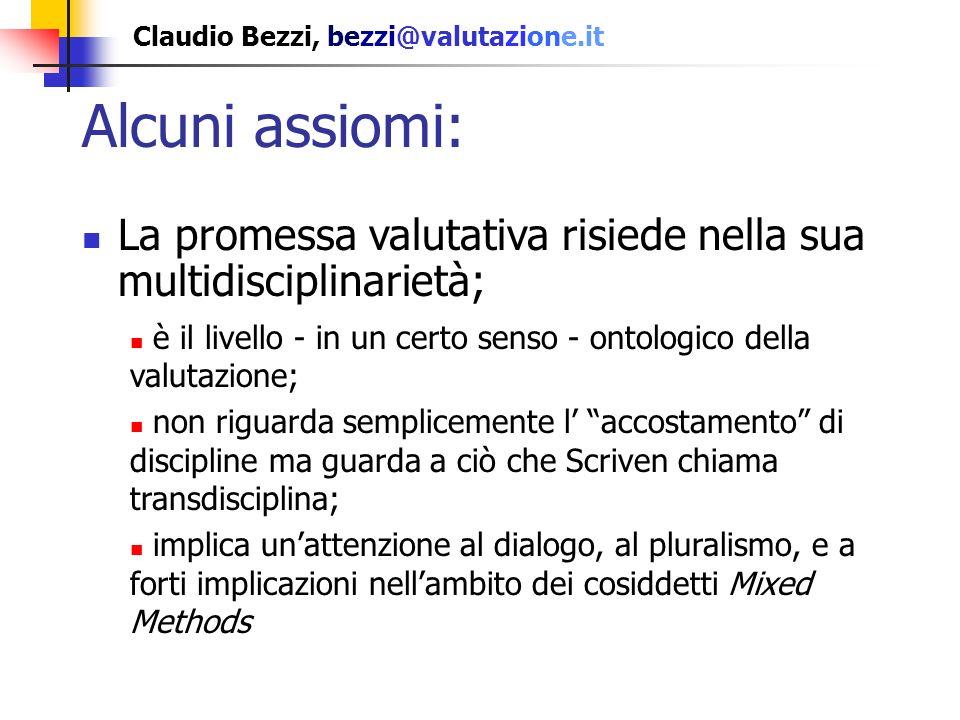 Claudio Bezzi, bezzi@valutazione.it Riepilogo Un numero molto ridotto di articoli sono classificabili come specialistici, con oggetto teoria e metodo; la maggior parte resta di carattere introduttivo, o relativo a temi collaterali.