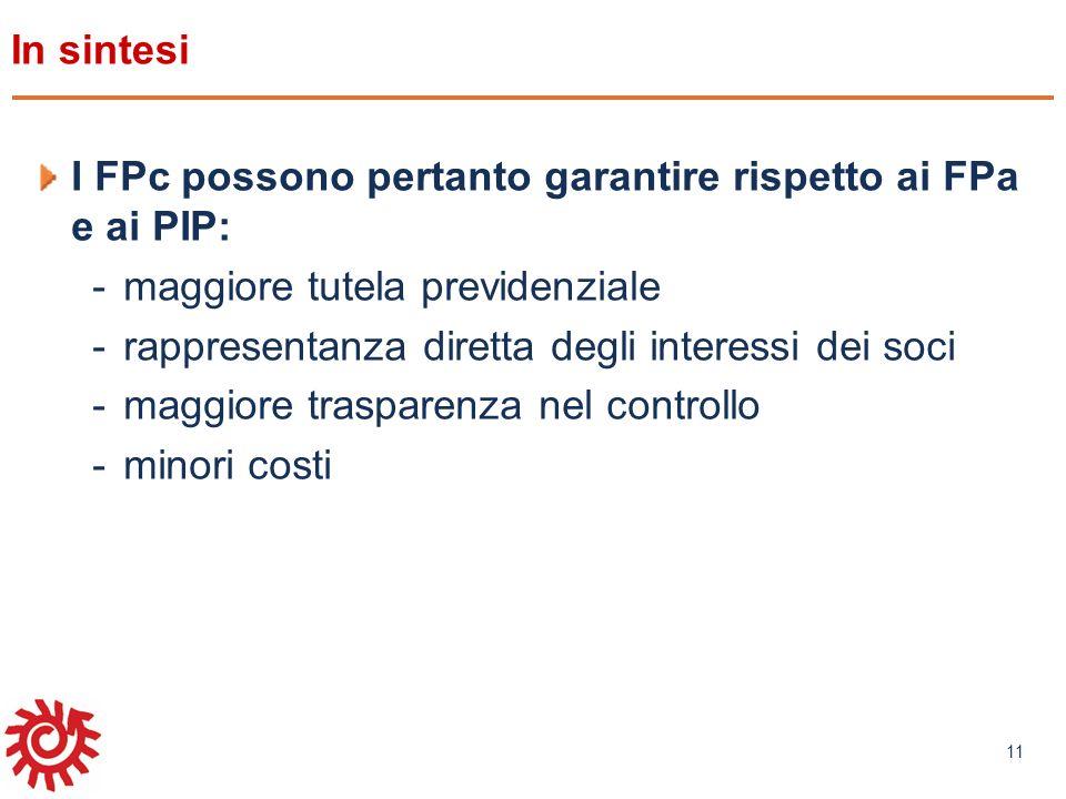 www.mefop.it 11 In sintesi I FPc possono pertanto garantire rispetto ai FPa e ai PIP: -maggiore tutela previdenziale -rappresentanza diretta degli int