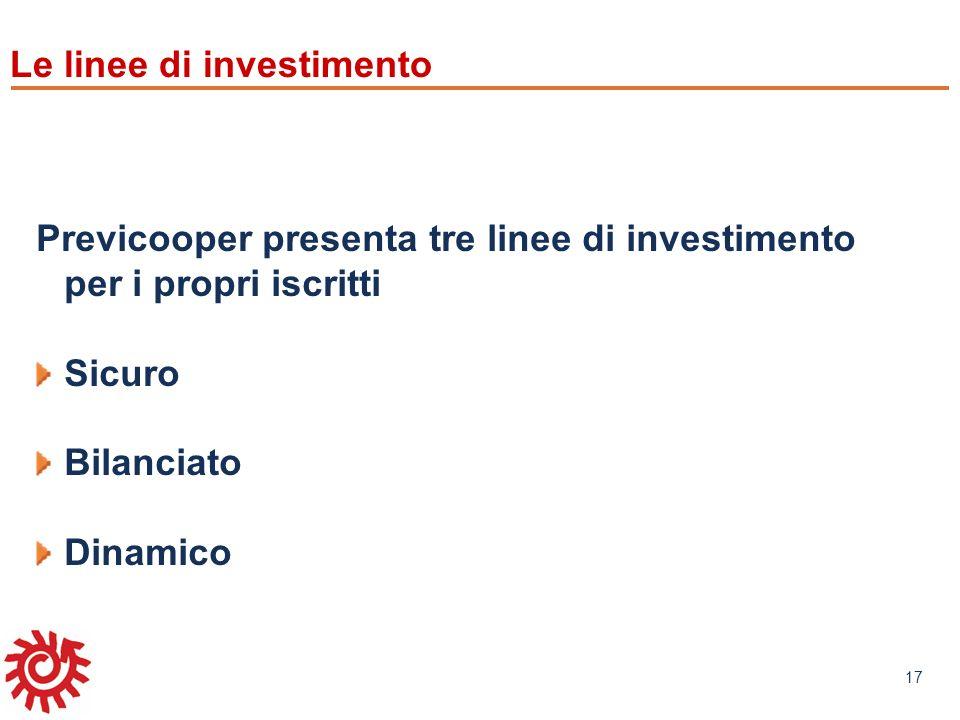 www.mefop.it 17 Le linee di investimento Previcooper presenta tre linee di investimento per i propri iscritti Sicuro Bilanciato Dinamico