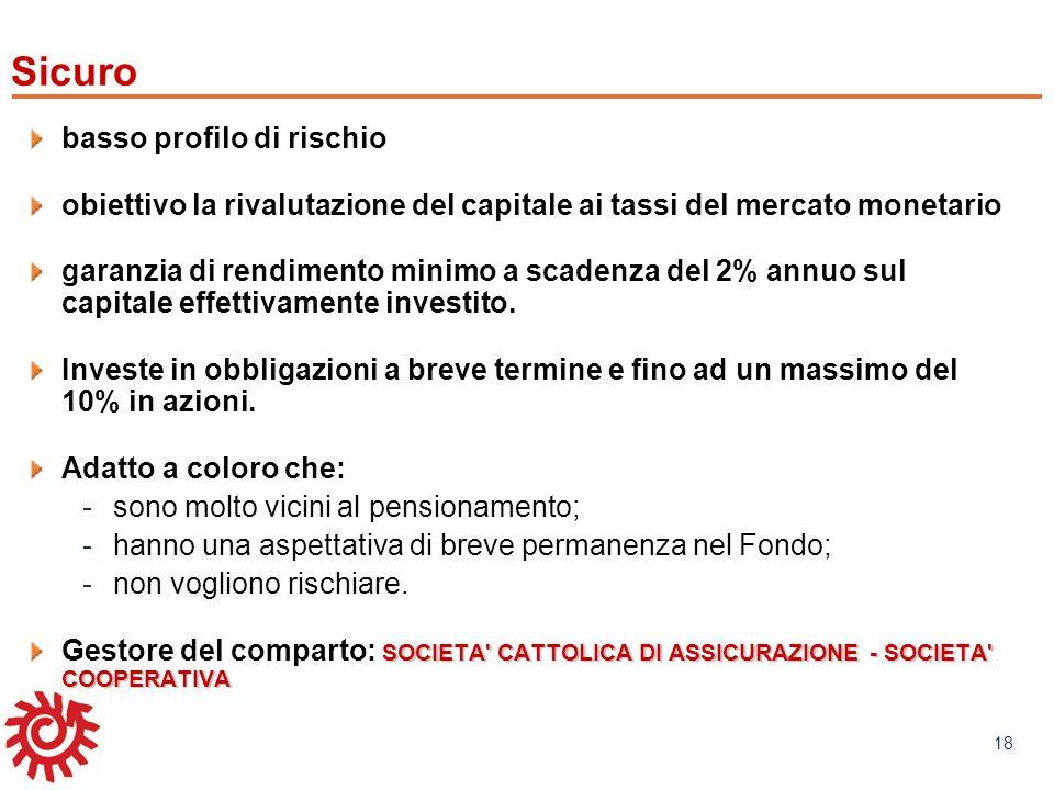 www.mefop.it 18 basso profilo di rischio obiettivo la rivalutazione del capitale ai tassi del mercato monetario garanzia di rendimento minimo a scaden