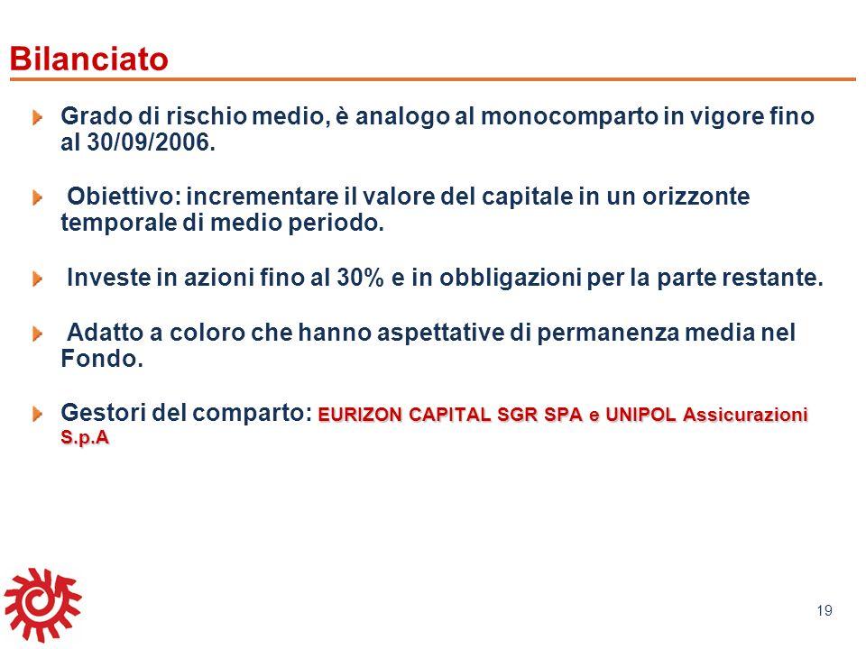 www.mefop.it 19 Grado di rischio medio, è analogo al monocomparto in vigore fino al 30/09/2006. Obiettivo: incrementare il valore del capitale in un o
