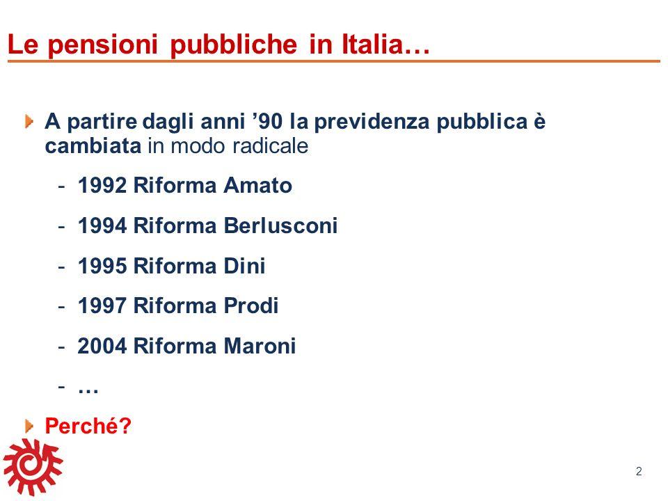 www.mefop.it 2 Le pensioni pubbliche in Italia… A partire dagli anni 90 la previdenza pubblica è cambiata in modo radicale -1992 Riforma Amato -1994 R